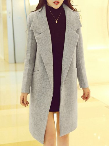 Lapel Solid Single Button Pocket Woolen Coat