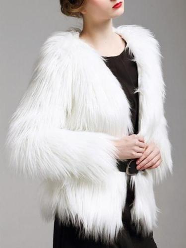 Luxury Women Plus Size Multicolor Warm Thicken Faux Fur Coat