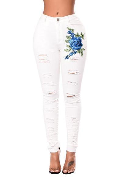 Red Rose Embroidery Distressed Black Skinny Jeans