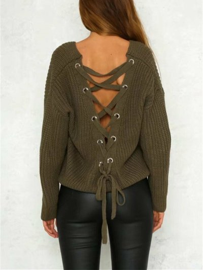 Fashion Solid Color V-neck Halterback Bandage Sweater Tops