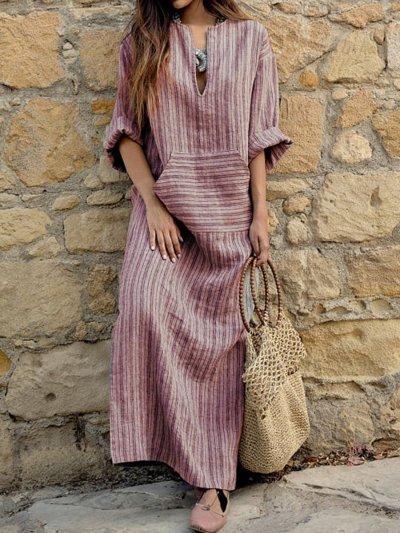 Woman Split Neck  Patch Pocket  Printed Maxi Dress