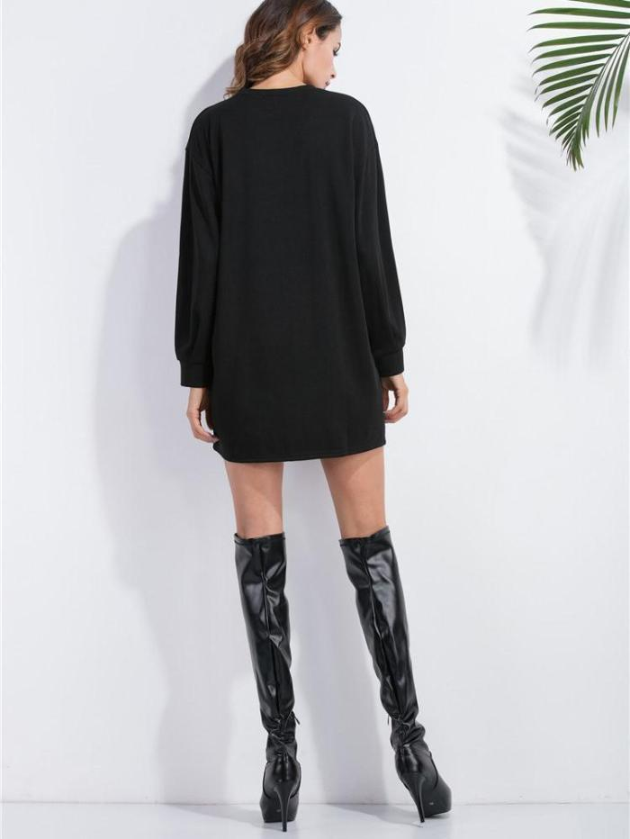 Drop Shoulder Sweatshirt Dress BLACK