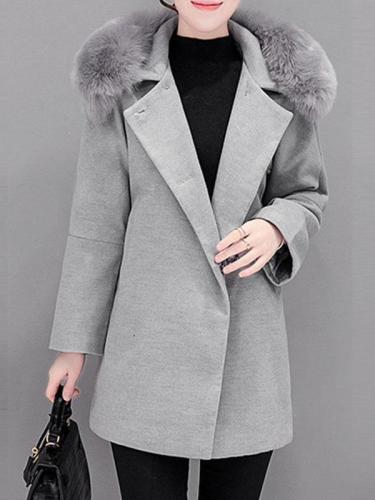 Women's Embroidery Woolen Fur Collar Wool Coat