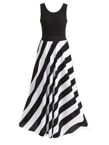 Round Neck  Striped Maxi Dress