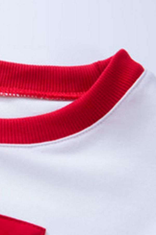 Round Neck  Color Block Sweatshirts