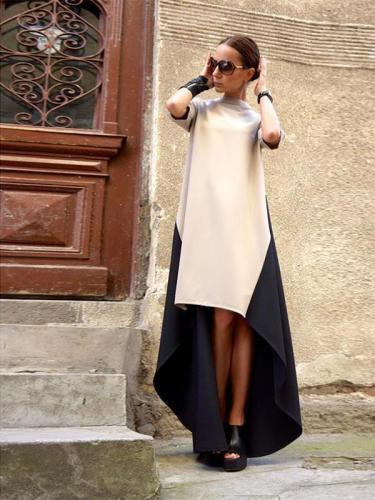 New High Neck  Asymmetric Hem Patchwork  Half Sleeve Casual Dresses