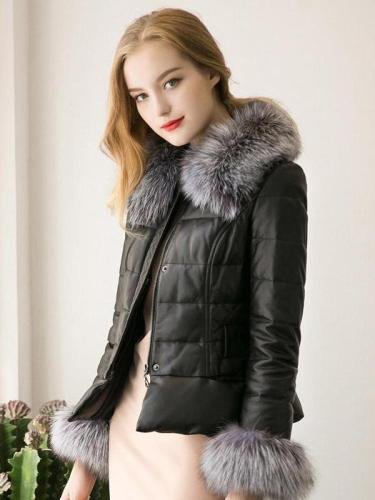 Winter Down Cotton Parka Fur Collar Zipper Coat Jacket Outwear
