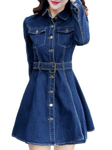 Stylish Flap Pockets Lapel Trench-Coat