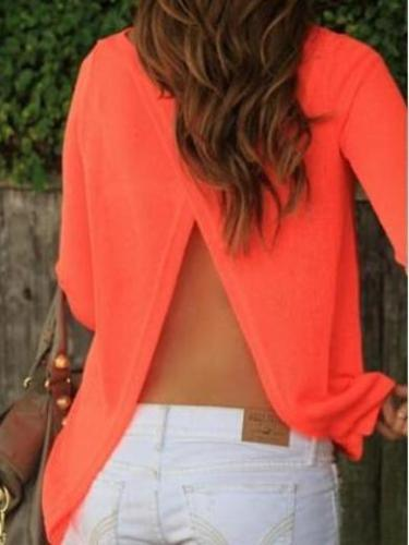 Back Slit Orange Chiffon Long Sleeve Blouse