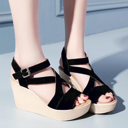 Plain  High Heeled  Velvet  Ankle Strap  Peep Toe  Casual