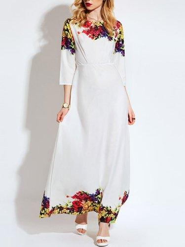 Fashion Round Neck  Printed  Polyester Maxi Dress