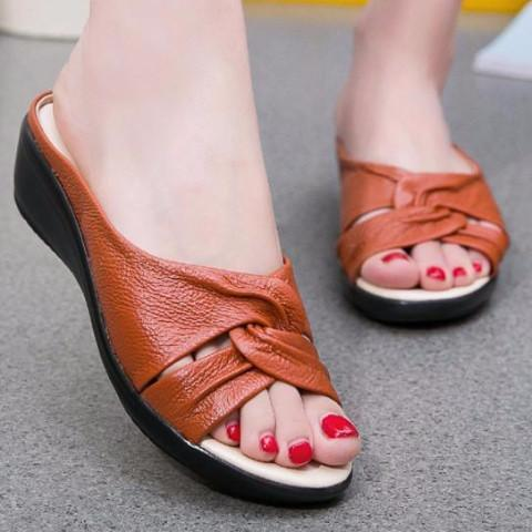 Open Toe Genuine Leather Wedge Sandal