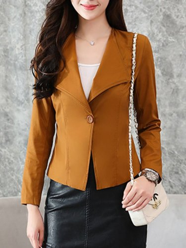 Lapel  Single Button  Plain Jacket