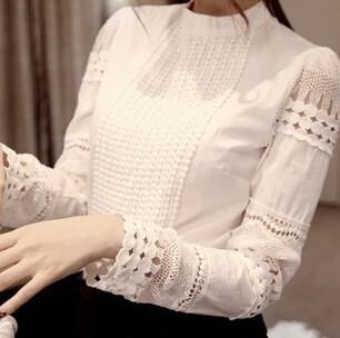 Cutout long-sleeve Shirt White Shirt OL Work Wear Lace Blouse Tops
