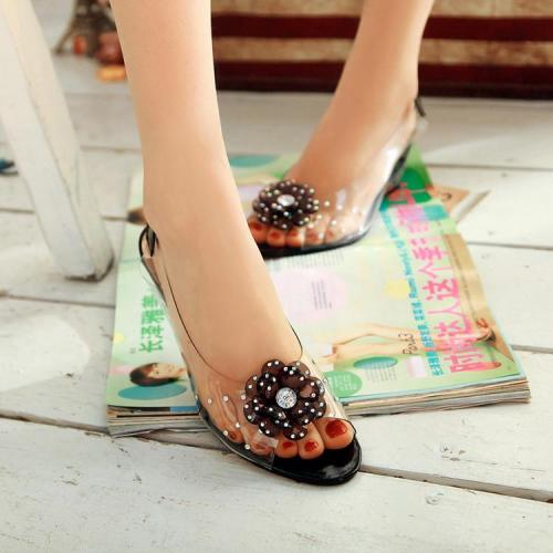 Flower Transparent Wedge Heel Sandals Women Peep Toe Jelly Shoes