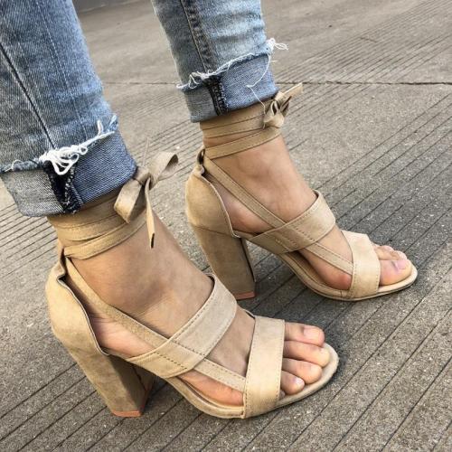 Elegant Cross Strap Peep Toe Sandals