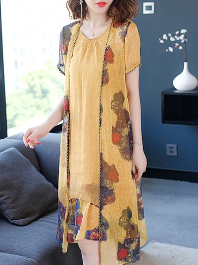 Yellow Casual Two Piece Printed Plus Size Women's Sets Shift Dresses