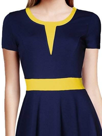 Round Neck  Patchwork  Plain Skater Dress