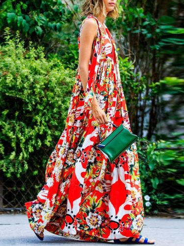 Floral Round Neck Red Fashion Woman Vacation Dress