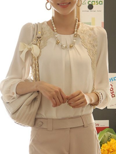New Round Neck  Decorative Lace  Embroidery Blouses