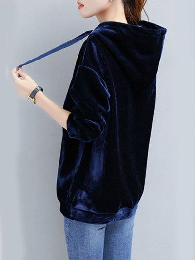 Loose Drawstring Plain Velvet Hoodie