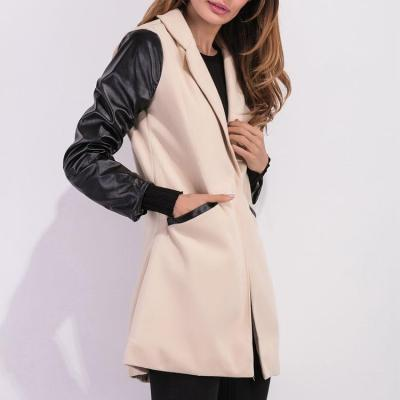PU Leather Sleeves Woolen Jacket Coat Outwear