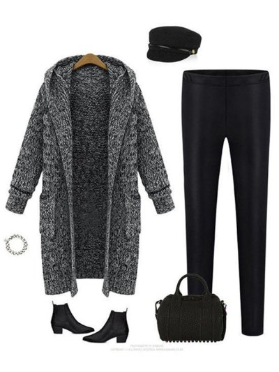 Hooded With Pockets Sweater Coat Cardigans Outerwear