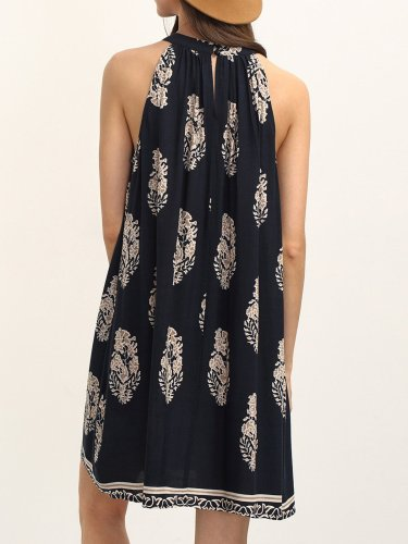 Navy Blue Printed A-line Boho Halter Holiday Dress