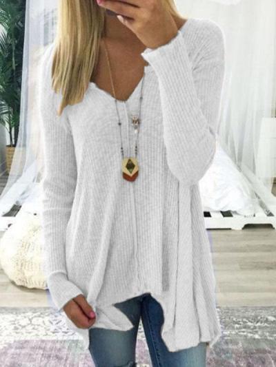 V Neck  Asymmetric Hem  Plain Sweaters