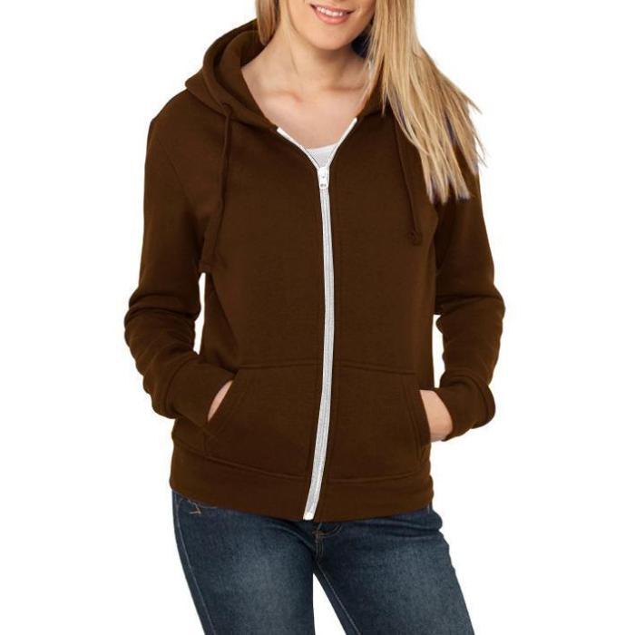 Womens Long-Sleeved V-Neck Zipper Casual Coat