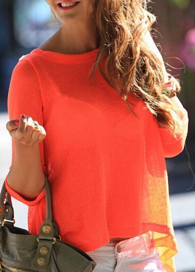 Back Slit Orange Chiffon Long Sleeve Blouse