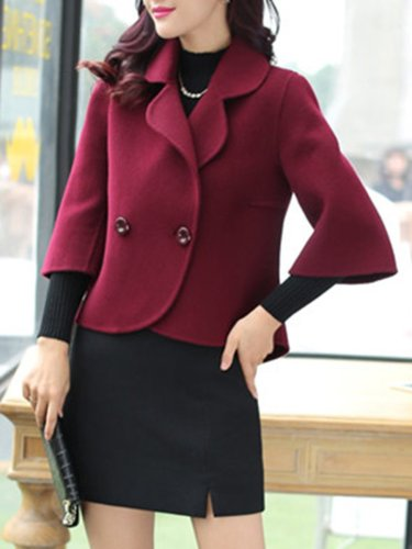 Loose Lapel Plain Woolen Blazer