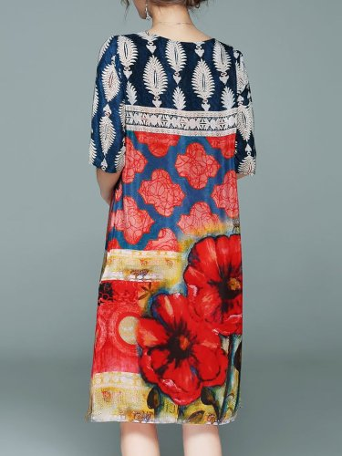 Crew Neck Printed Casual Half Sleeve Polyester Midi Dress