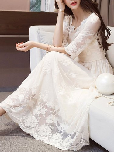 New Solid Hollow Out Lace Maxi Dress