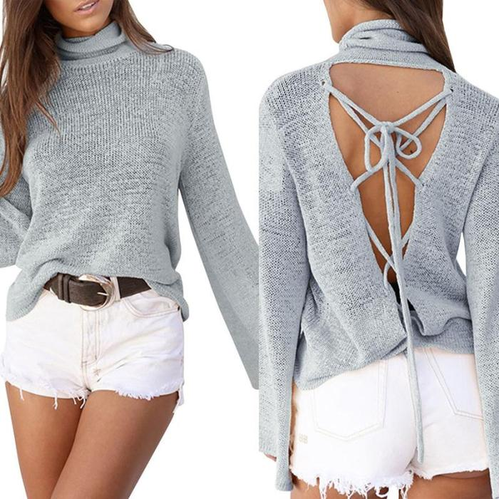 High Neck  Cross Straps  Back Hole  Plain  Batwing Sleeve Sweaters