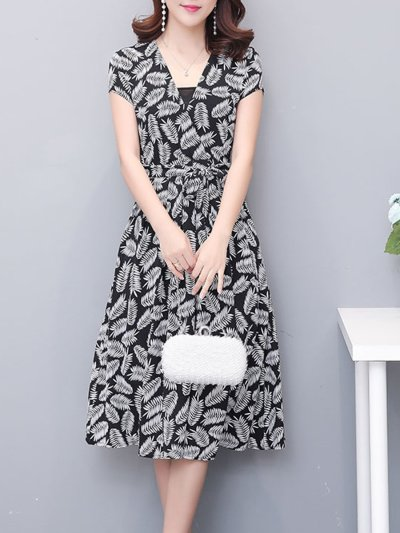Woman V Neck  Floral Printed Maxi Dress