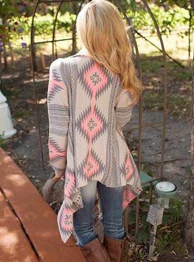 Long Sleeve Asymmetrical Irregular Printed Southwestern Style Outer Wrap