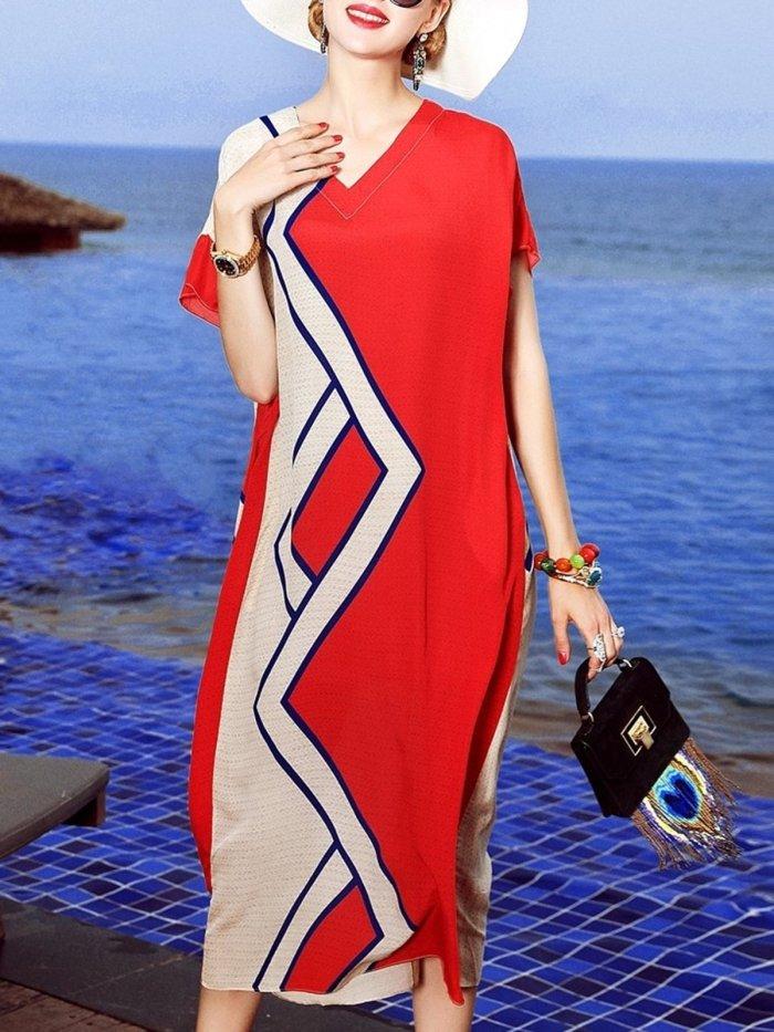 Red Chiffon Casual A-line Geometric V-Neck Plus Size Dress