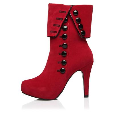 Red Platform Flock Buckle Winter High Heels Boots Ankle Boots