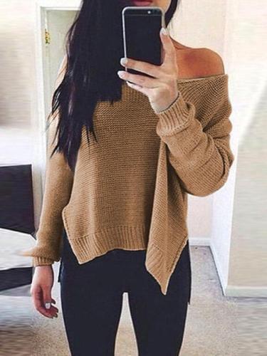 Off Shoulder  Asymmetric Hem  Plain Sweaters