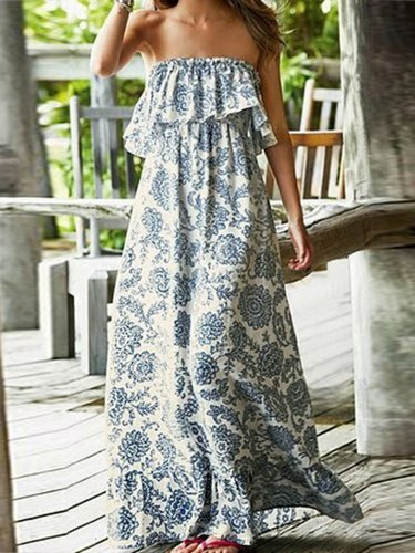 Fashion Off Shoulder  Printed Maxi Dress