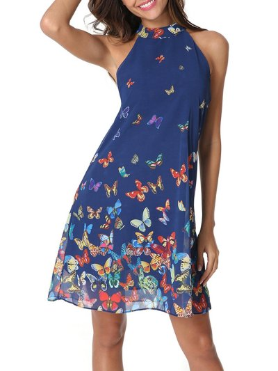 Blue Sleeveless Printed Chiffon Dress