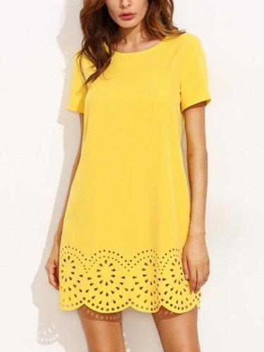 Fashion Round Neck  See-Through  Plain Shift Dress