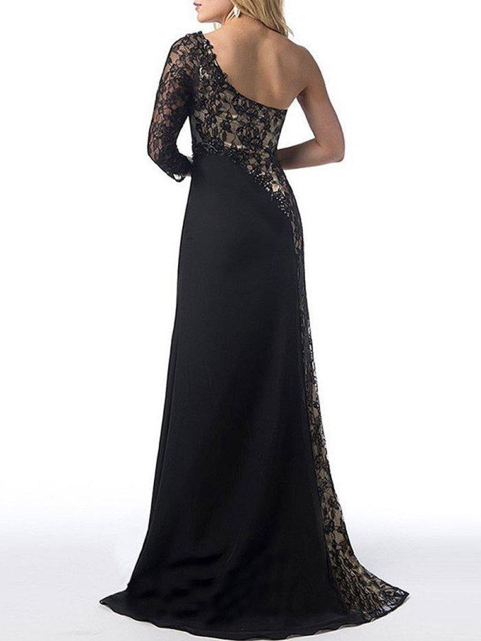 New One Shoulder High Slit Patchwork Evening Dress