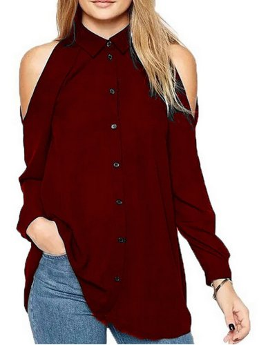 Cold Shoulder Long Sleeve Basic Blouses &