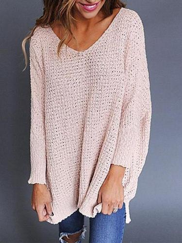 Round Neck Plain Long Sleeve Knitting Sweater