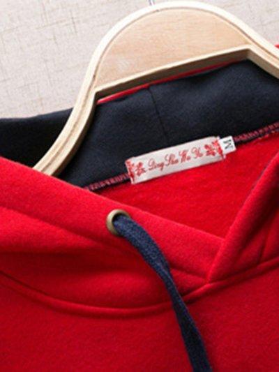 Kangaroo Pocket Color Block Embroidery Hoodie