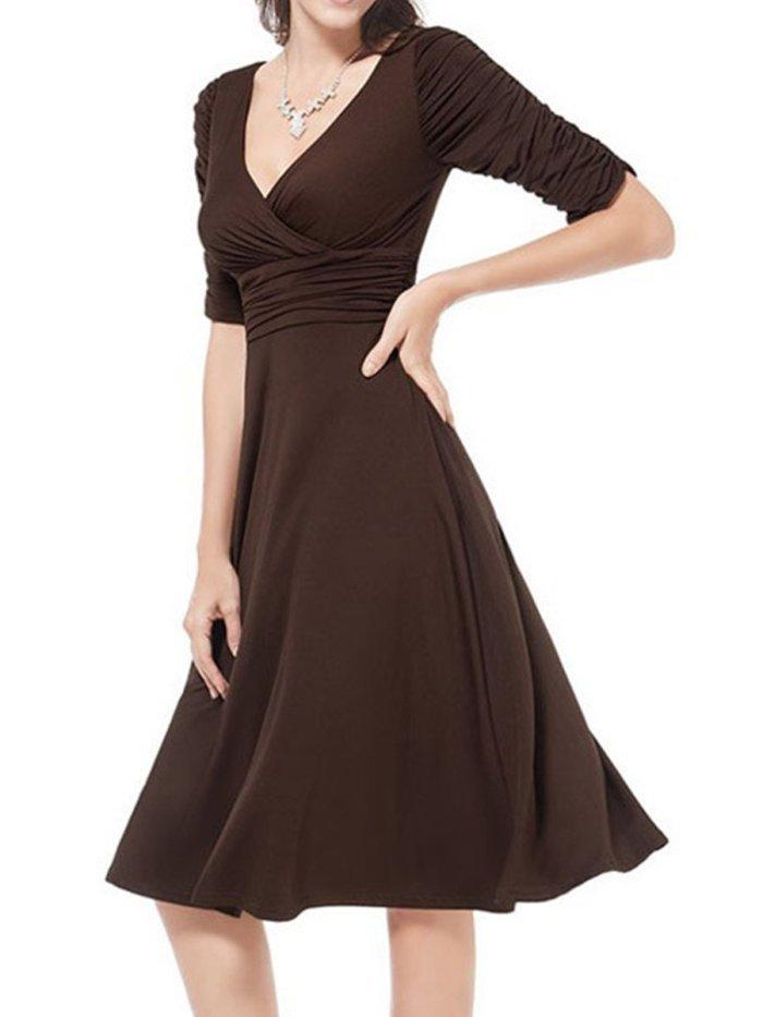 Woman V Neck  Plain Skater Dress