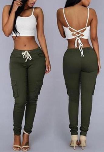 Drawstring Waist Pocket Design Skinny Long Cargo Pants