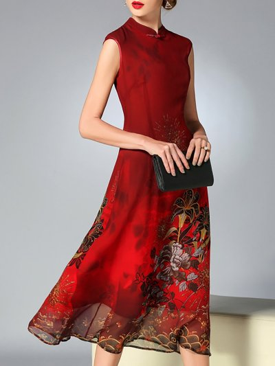 Burgundy A-line Floral Sleeveless Midi Dress